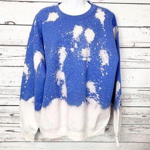 Blue white bleached tie-dye sweatshirt
